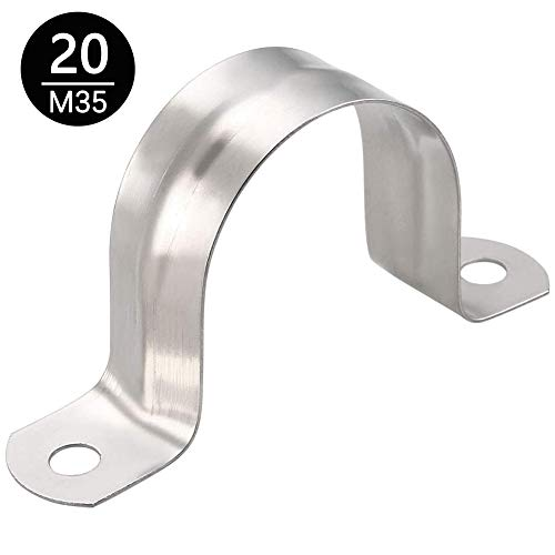 cersaty® 20 Stück Rohrschelle 35mm Edelstahl 304,U-Typ Rohrschelle Befestigungsschelle von Leitungen, Rohren und Kabeln-Rohrhalterung (20, M35)