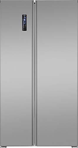 Bomann SBS 7336 IX Side-by-Side Kombi, 532 Liter Nutzinhalt, LED Frontdisplay mit Touch Control, Total No Frost, Anti-Fingerabdruckbeschichtung, Edelstahloptik, metallisch