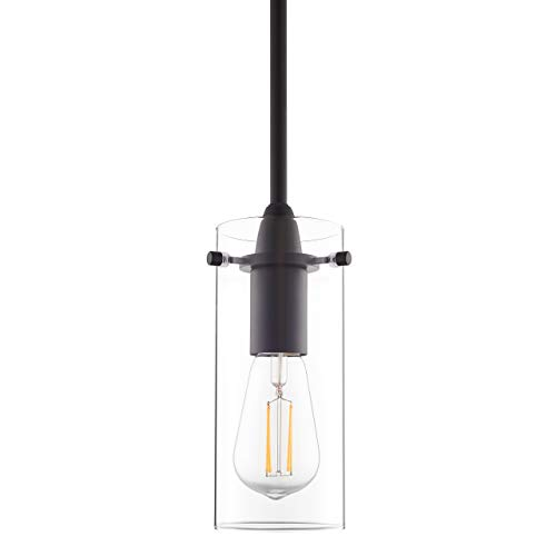 Black Pendant Light - Modern Effimero Mini Pendant Lighting for Kitchen Island Decor - Clear Glass Fixture with Small Lamp Shade
