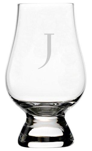 Celtic Etched Monogram Glencairn Crystal Whisky Glass (Letter J)