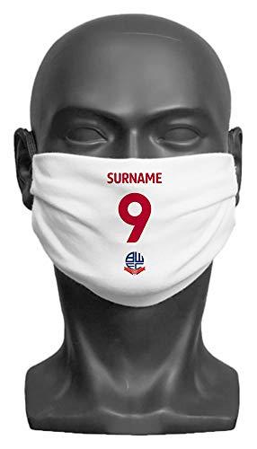Personalised Bolton Wanderers FC Back Of Shirt Adult Face Mask - Medium
