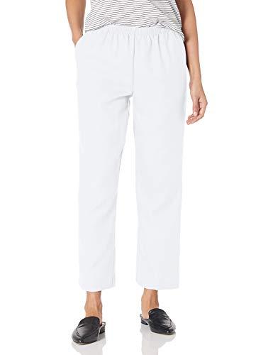 Alfred Dunner Women's Around Elastic Waist Polyester Short Pull-On Style Pants, White, 14 Petite