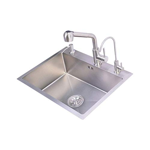 BDD Becken Indoor Kitchen Sink Einzelschüssel Mit 3 Löchern, Stahlwaschbecken Composite Utility Sink Square Tap Set,500 Mm X 400 Mm