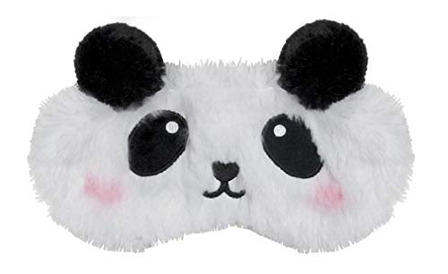 iscream Fun, Furry and Colorful Satin-Lined Embroidered Sweet Panda Sleep Mask for Girls