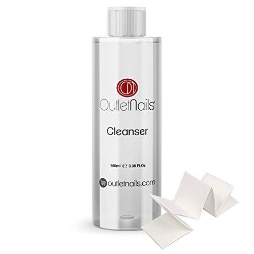 Cleaner para Gel 100ml Aroma Coco + 10 Celulosas de Alta calidad - Eliminar la capa pegajosa de geles UV y Led/Esmaltes permanentes/Esmaltado Permanente/Cleanser para uñas de gel