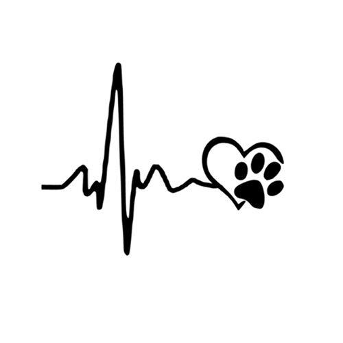 MCTYLI 13 cm x 10,3 cm hart liefde hond afdrukken zelfklevend auto vinyl grappige 3D sticker en trekker motorfiets auto styling decoratie
