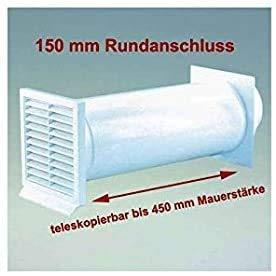 IKM -Abluft & Mauerkasten mit Rückstauklappe -Farbe: Weiß mit Rundanschluss 150 mm Durchmesser Maße Aussengitter 225 x 225 mm für Mauerstärke von 120 - 450 mm Ablufttechnik Rundrohr -Teleskopierbar