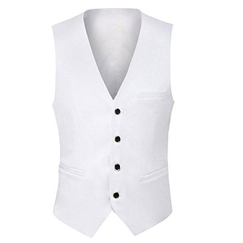 Weste Herren Business Hochzeit Slim fit mit 4 Knöpfe Anzugweste Weiß Medium
