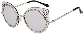 Sunglasses Fashion Accessories Cat's Eye Diamond Rope Style Street Shooting Anti-UV Sunglasses Outdoor Beach (Color : Silver)