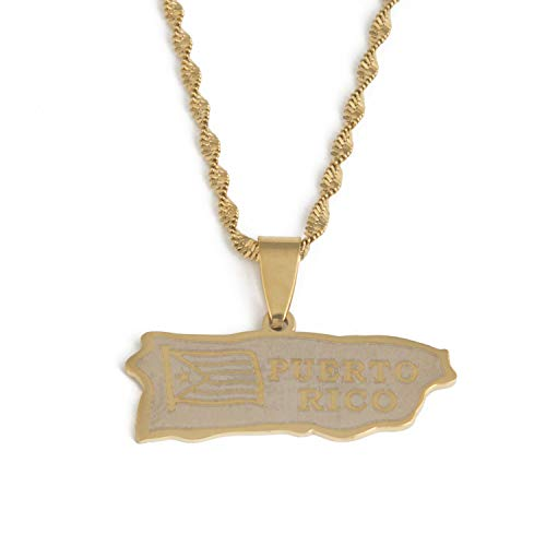 Tovawa Stainless Steel Gold Color Puerto Rico Map Pendant Necklaces Puerto Ricans Map Jewelry-