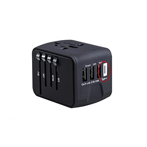 PIAOLING Universal Travel Adapter, Universal Plug Socket Power Converter for US EU UK AUS Europe Cell Phone (Color : Black, Size : 3USB+TYPE)