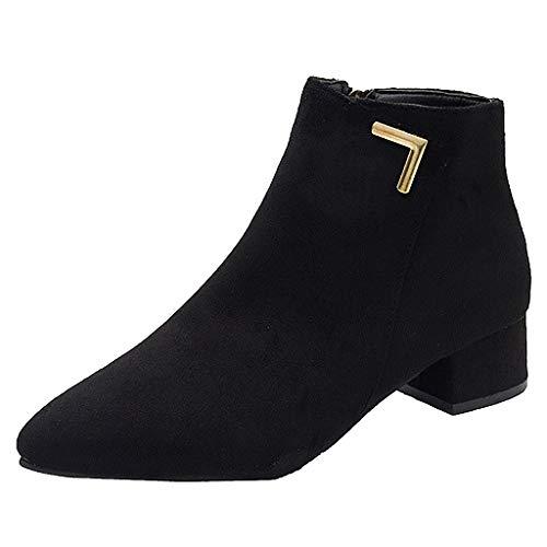 Dtuta Pointed Boots, Damen Stiefel Classic Chelsea Boots Heels,Damen Mode Lässig Einfarbig Wies Dicke Stiefeletten,Stiefeletten Damen mit Absatz Ankle Boots für Damen mit Reissverschluss