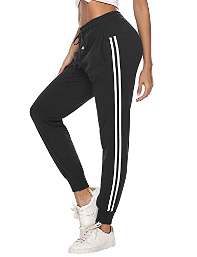Litherday Pantalón Chandal Mujer,Pantalones Deportivos Largo para Mujer Pantalón de Deprte Mujer Largo para Jogging Yoga Fitness, Negro, M