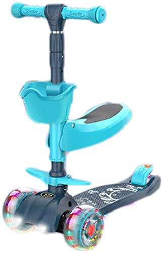 JCXT. Guida Scooter per Bambini e Scivolo 3 in 1 Altezza Scooter per sterzare Lampeggiante PU. Scooter a 3 Ruote a 3 Ruote (Color : Blue)