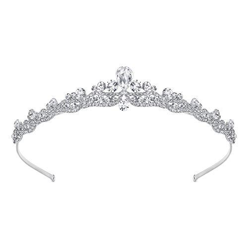 EVER FAITH® österreichischen Kristall elegant Braut Vintage Retrostil Haarband Diadem Haarschmuck klar Silber-Ton N03998-1