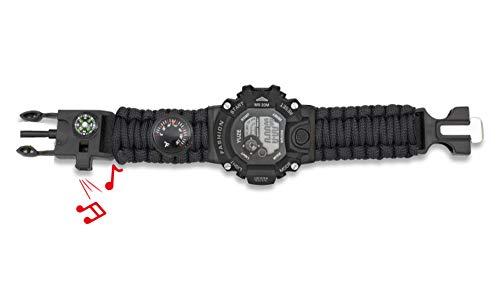 Reloj Tactico Militar Pulsera Digital Paracord Negro Barbaric Incluye Silbato, pedernal, brújula y termómetro para Caza, Camping, Supervivencia Albainox 33889-NE + Llavero Mosquetón de Regalo
