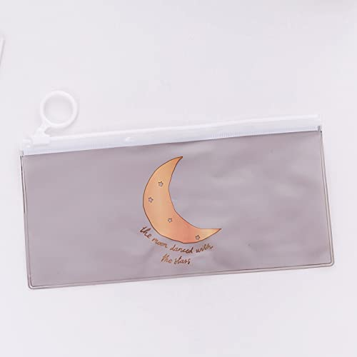 MRBJC Pennfodral – genomskinligt pennfodral med dragring förvaringspåse för skolmaterial, fakturor, fil, brevpapper, tillbehör grå 18,8 x 9,3 cm