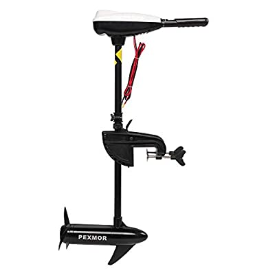 PEXMOR Electric Trolling Motor 36/46/55/86LBS Thrust Saltwater Transom Mounted w/LED Battery Indicator 8 Variable Speed for Kayak, Inflatable Fishing Boats