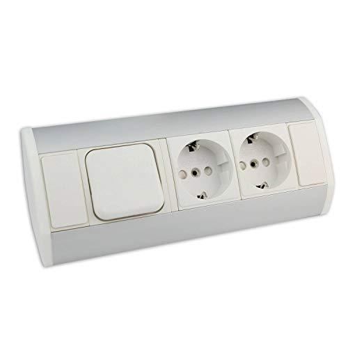 Muebles - caja de enchufe blanca con 2x Schuko + interruptor de luz - caja de enchufe angular de aluminio de alta calidad ideal para la encimera, la mesa o debajo de