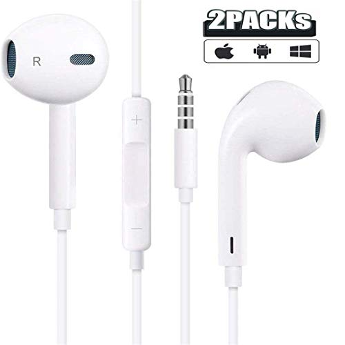 2 Pack 3.5mm Headphones/Headphones/Earphones/Earbuds Built-in Microphonen & Volume Control,Compatible iPhone/iPod/iPad/Android/MP3/MP4 Headphones Plug and Play Mobile Phone