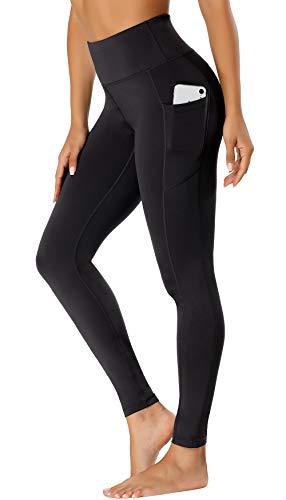 FASHION BOUTIQUE Beelu Damen Leggings Lange Yoga Pants Blickdicht Hohe Taille Fitnesshose mit Taschen,XL, Schwarz