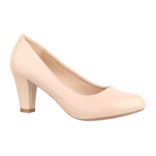 Elara Damen Pumps High Heels Absatz Vintage Chunkyrayan 7056-P-Beige-39