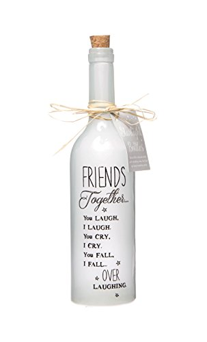Boxer Gifts SB1113 Light-Up LED Friends Together Glass Starlight Bottle | Beautiful Decorative Homeware Birthday Christmas | Comes with Gift Tag, White, 6.7cm x 29.5 cm