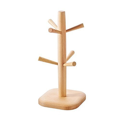 Uchic 1 pcs amovible en bambou Mug Café Tasse à thé de rangement organisateur support, support pour cintre avec 6 crochets (Bois naturel)