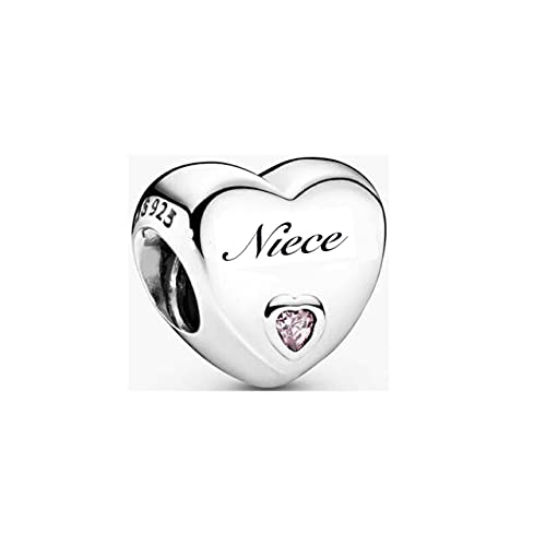 MsRosy Family Hearts Charms for Bracelets Hearts for Niece Charm Sterling...