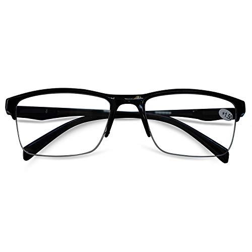 KOOSUFA Lesebrille Herren Damen Halbrahmen Brille Halbrandbrille Lesehilfe Sehhilfe federscharnier Schwarz 0.25 0.5 0.75 1.0 1.25 1.5 1.75 2.0 2.25 2.5 2.75 3.0 3.25 3.5 3.75 4.0 (1x Schwarz, 0.75)