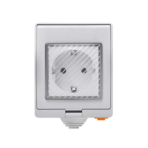 SONOFF S55 Toma de Corriente Inteligente e Impermeable WiFi, Interruptor con Temporizador para toma inteligente a prueba de agua IP55 para domótica.Funciona con Amazon Alexa y Google Home Assistant