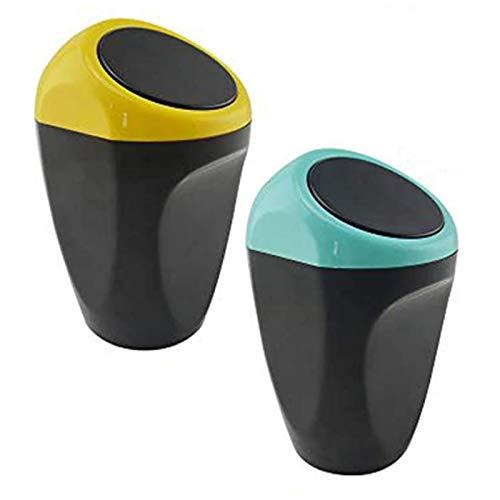 Cubo de Basura para automóvil Cubo de Basura Mini Cubo de Basura Cubo de Basura Almacenamiento de desechos para Auto Oficina en casa Escritorio 2 Piezas Car Amarillo, Azul