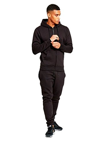 mymixtrendz Mens Designer Tracksuit Skinny Fit Stretch Body Fit Zipped Top and Joggers Bottoms (L, Black)