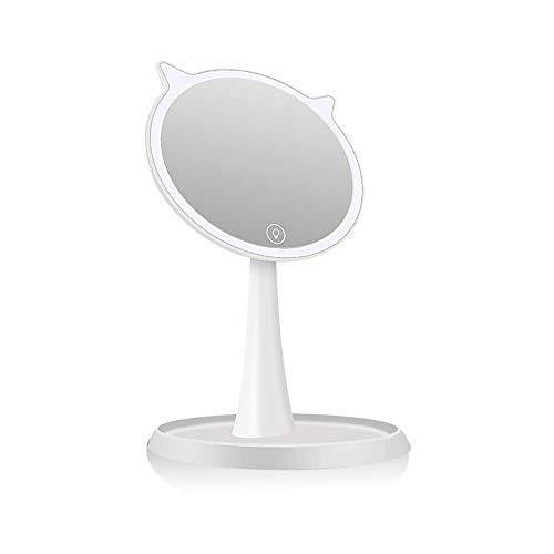 WANJIA 10x Lupa Espejo de Maquillaje con lámpara LED de Escritorio Chica Dibujos Animados Zoom Luz de Relleno Carga Estudiante Princesa Espejo de Vestir Blanco,Blanco