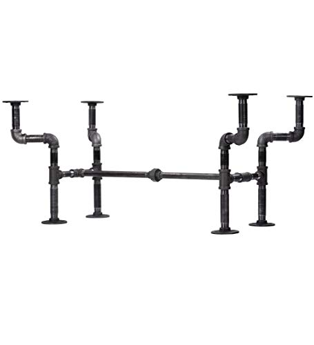 Industrial Pipe Decor Coffee Table Leg Set, Rustic Living Room Office Table Base Kit, Dark Grey/Black Rough Pipes Vintage Furniture Unfinished Steel Metal Heavyweight Construction, Streetlights Design