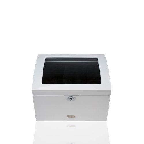 Preisvergleich Produktbild Windrose High Gloss Schmuckkoffer 3 Etagen mit Plexiglasdeckel 28 cm weiss