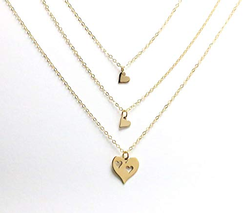Mom of 2 Girls Christmas Gift, Gold Heart Necklace Set, Mother Daughter Present