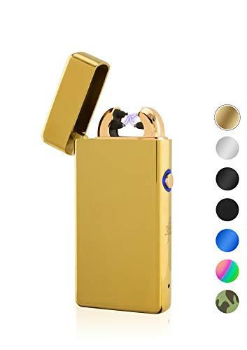 TESLA Lighter TESLA Lighter T08 Lichtbogen-Feuerzeug, elektronisches USB Feuerzeug, Double-Arc Lighter, wiederaufladbar, Gold Gold