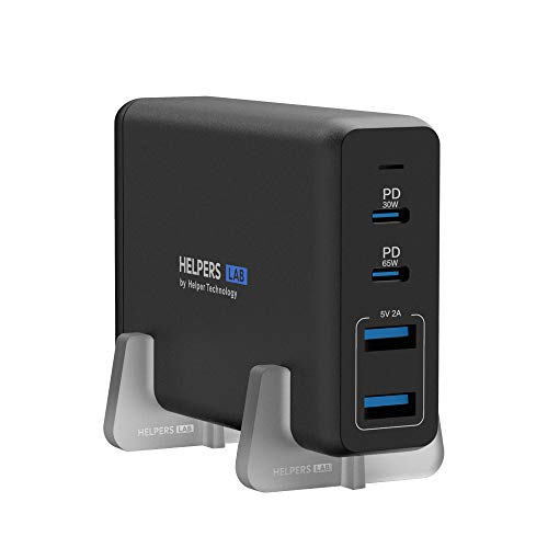 Helpers lab 30W 65W USB C Notebook Ladegerät mit PD 4 Port Netzteil Kompatibel mit Typ-C Laptop MacBook Pro Dell XPS 9360 Surface Pro 3/4/5/6/7/Go Asus iPhone 12 & mehr