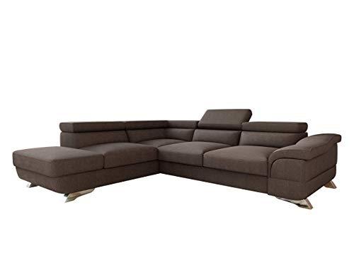 Mirjan24 Polsterecke Lagos! Ecksofa Eckcouch mit Bettkasten und Schlaffunktion! einstellbare Kopfstützen! Schlafsofa L-Form Couch Couchgarnitur! Wohnlandschaft (Ecksofa Links - OT-2R, Inari 28)