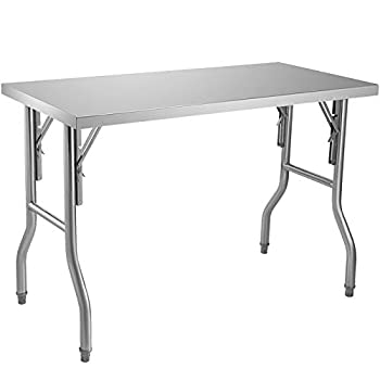 VEVOR Commercial Worktable Workstation 48 x 24 Inch Folding Commercial Prep Table Heavy-duty Stainless Steel Folding Table with 661 lbs Load Kitchen Work Table Silver Stainless Steel Kitchen Island