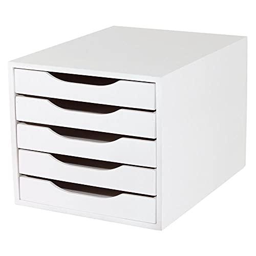 Caixa de Arquivo 5 gavetas, Mdf Branco - Souza & Cia, (Ref: 3306)