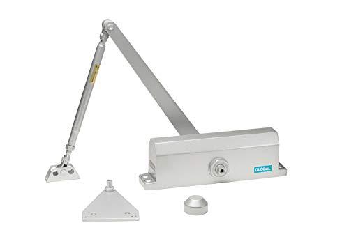 Global Door Controls Commercial Door Closer in Aluminum Finish , with Backcheck - Size 4 , small - TC2204-BC-AL