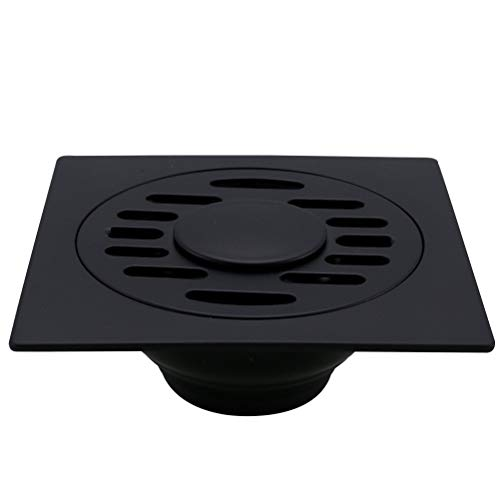Yardwe Bodenablauf Edelstahl Ablaufrinne Geruchsstop Waschmaschine Duschablauf Bodenbefestigung mit Deckel für Badezimmer Küche (Schwarz)