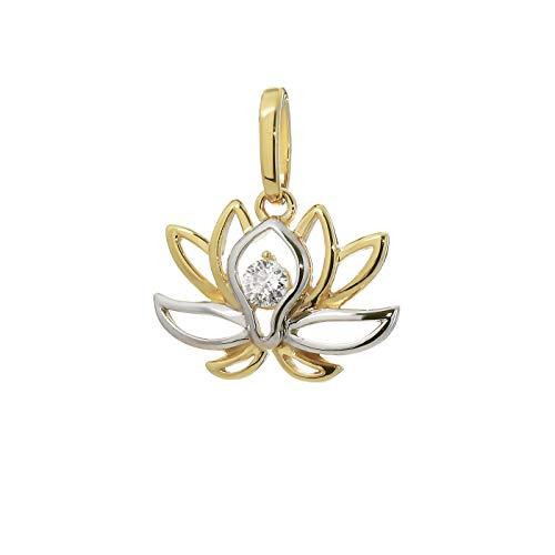 NKlaus Pendentif fleur de lotus 333 or jaune 8 carats 17x11mm zircone femme blanche 9216