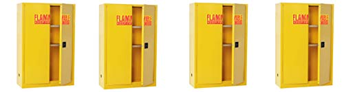 "Sandusky Lee SC450F Yellow Steel Safety Cabinet for Flammable Liquids, 2 Shelves, 2 Door Manual Close, 45 Gallon Capacity, 65"" Height x 43"" Width x 18"" Depth (Pack of 4)"