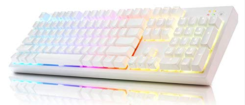 ABKO Hacker K995P V3 Capacitance Non-Contact Switch Keyboard, 45g, Waterproof, RGB LED Effect, Cheery MX, Nkey-Rollover, ARM 32bit, Golden Plate USB, Keyboard Software, Dual Injection (White)