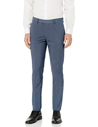 AXIST Men's Flat Front Very Slim Fit Nailshead Dress Pant, Bering sea, 36x34