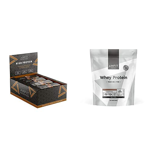 Amfit Nutrition Barrita de proteína baja en azúcar (19,6gr proteina0,8gr azúcar)fondant de chocolate Pack de 12 + Proteína de Suero de Leche en Polvo 1kg Chocolate (anteriormente PBN)