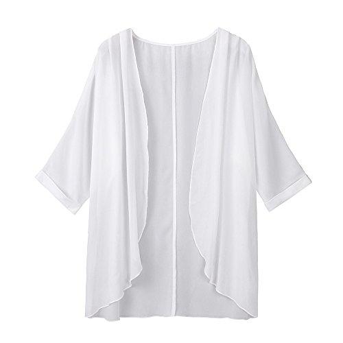 VEMOW Sommer Herbst Elegante Damen Frauen Solide Sheer Lose Solide Kimono Strickjacke Casual Täglichen Party Strand Workout Capes(Weiß, Freie Größe)